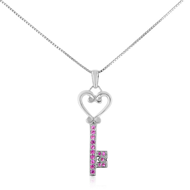 1/4 Carat tw Pink Sapphire Key Pendant in Sterling Silver with 18