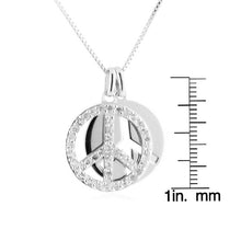 Load image into Gallery viewer, White Sapphire Double Peace Pendant with Chain