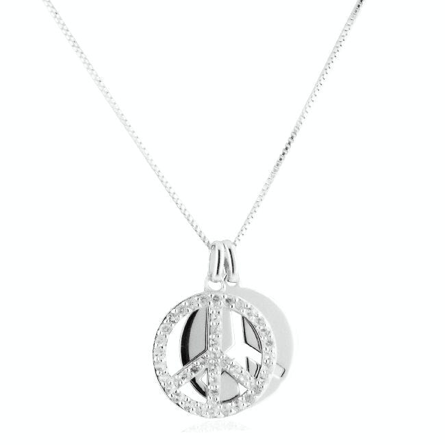 White Sapphire Double Peace Pendant with Chain