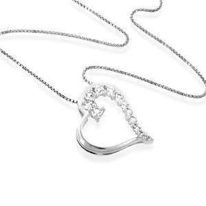 Sterling Silver and White Sapphires Journey Heart Pendant