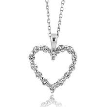 "Load image into Gallery viewer, 1/2 Carat White Sapphire & Sterling Silver Heart Pendant w/ 18"" Chain"