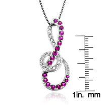 "Load image into Gallery viewer, 1.30 Carat tw Ruby & White Sapphire Infinity Pendant in Sterling Silver with 18"" Chain"