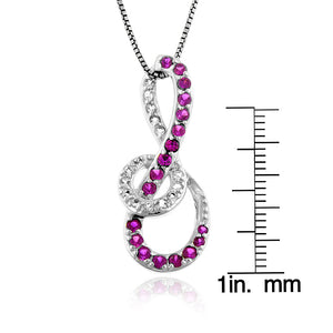 "1.30 Carat tw Ruby & White Sapphire Infinity Pendant in Sterling Silver with 18"" Chain"