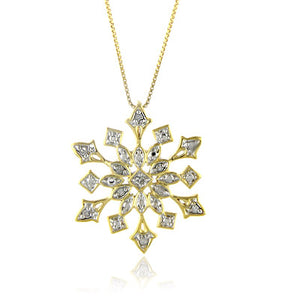 Diamond Snowflake Pendant in Sterling Silver with Chain