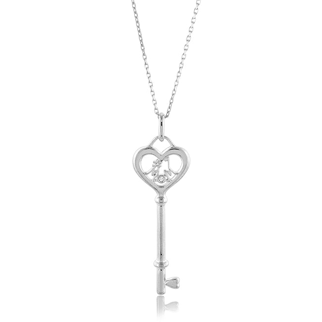 Sterling Silver Diamond Accented #1 MOM Key Pendant w/ 18