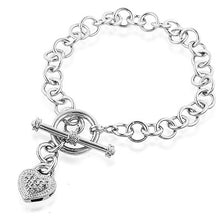 Load image into Gallery viewer, Diamond Heart & Toggle Bracelet in Sterling Silver