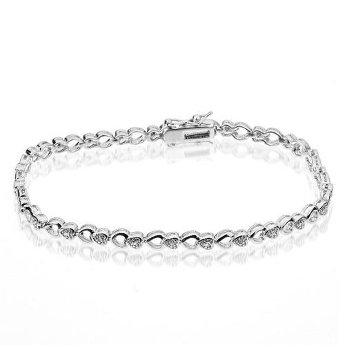 Sterling Silver Diamond Accented Hearts Bracelet
