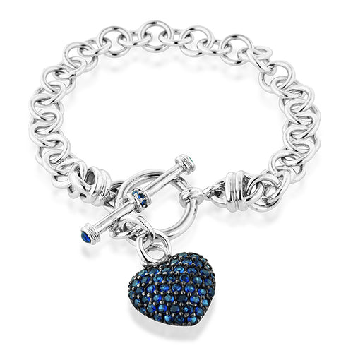 Blue Sapphire Heart Toggle Bracelet in Sterling Silver