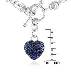 Load image into Gallery viewer, Blue Sapphire Heart Toggle Bracelet in Sterling Silver