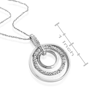 Sterling Silver & Diamond Accent Double Circle Pendant with Chain