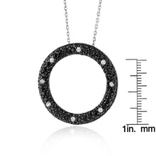 "Load image into Gallery viewer, 5.50 Carat Black and White CZ Circle Pendant/Necklace in Sterling Silver with 18"" Chain"