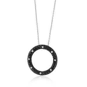 "5.50 Carat Black and White CZ Circle Pendant/Necklace in Sterling Silver with 18"" Chain"