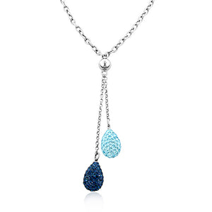 Swarovski Crystal Glitter Ball Drop Necklace in Sterling Silver