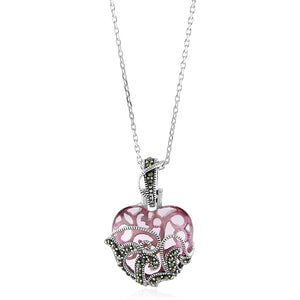 "Sterling Silver & Marcasite Interchangeable Multi-stone Heart Pendant Set w/18"" Chain"