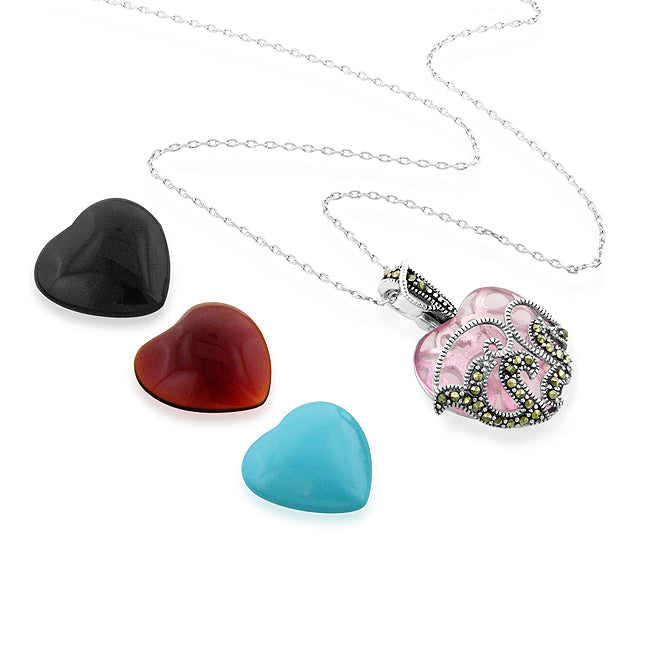 Sterling Silver & Marcasite Interchangeable Multi-stone Heart Pendant Set w/18