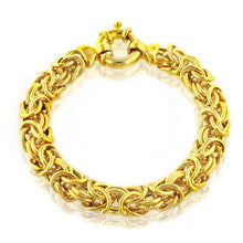 Load image into Gallery viewer, 18K Gold Plated Sterling Silver Byzantine Bracelet