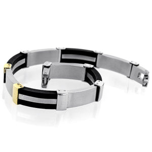 Stainless Steel and 14K Yellow Gold Plastic Track Link Bracelet