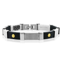 Load image into Gallery viewer, Stainless Steel With Black Plastic Men's Fancy Track Link Bracelet