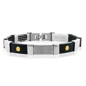 Stainless Steel With Black Plastic Men's Fancy Track Link Bracelet