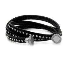 Load image into Gallery viewer, Crystal Studded Black Leather Bracelet