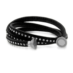 Crystal Studded Black Leather Bracelet