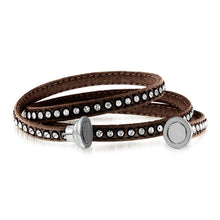 Load image into Gallery viewer, Crystal Studded Brown Leather Bracelet Size 7