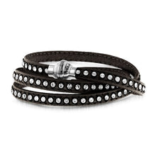 Load image into Gallery viewer, Crystal Studded Gray Leather Bracelet Size 7