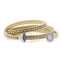 Load image into Gallery viewer, Crystal Studded Beige Leather Wrap Bracelet