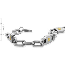 Load image into Gallery viewer, Stainless Steel and 14k Yellow Gold Screw Bracelet
