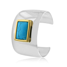 Load image into Gallery viewer, Turquoise Bangle Cuff in Stainless Steel