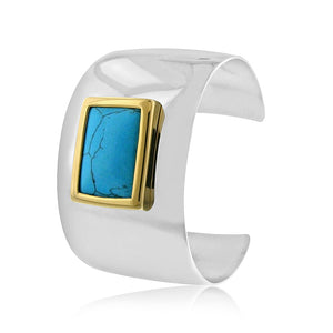 Turquoise Bangle Cuff in Stainless Steel