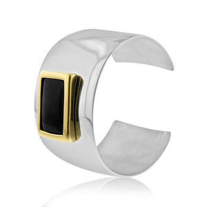 Onyx Bangle Cuff in Stainless Steel - 7.5""