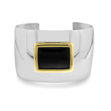 Load image into Gallery viewer, Onyx Bangle Cuff in Stainless Steel - 7.5""