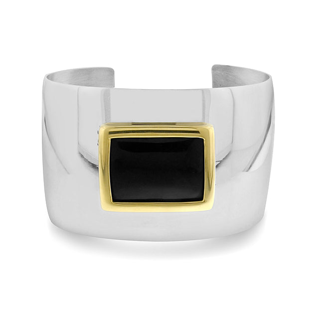 Onyx Bangle Cuff in Stainless Steel - 7.5