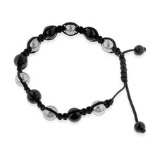 Load image into Gallery viewer, Stainless Steel Black & Silver Shamballa Bracelet - 8""