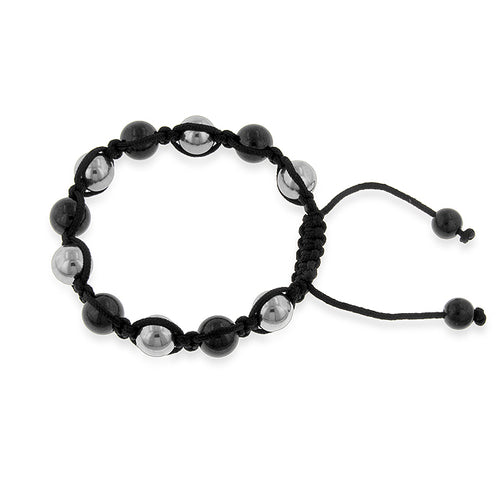 Stainless Steel Black & White Shamballa Bracelet