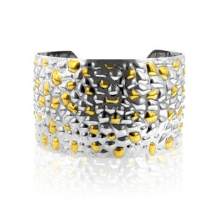 Stainless Steel Gold Plated Two Tone Wide Cuff Bangle