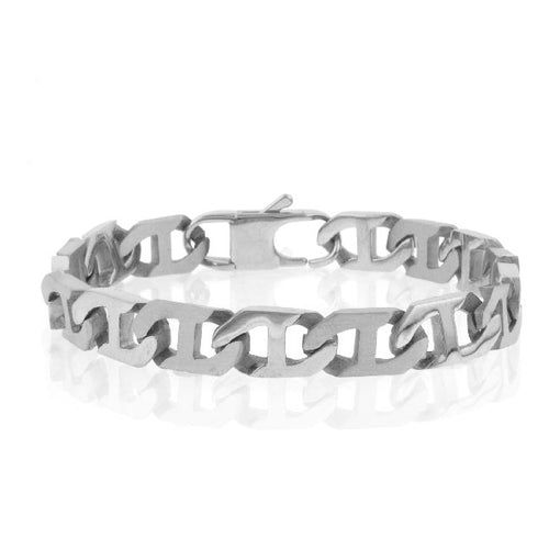 Stainless Steel Satin & Polished Mariner Link Chain Bracelet