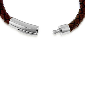 Brown Braided Leather and Stainless Steel Bracelet