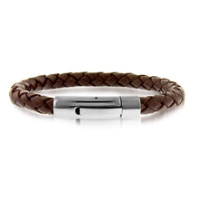 Load image into Gallery viewer, Brown Braided Leather and Stainless Steel Bracelet