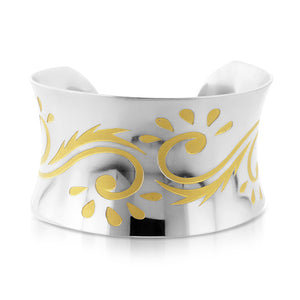 Designer Wide Cuff Bangle in Stainless Steel