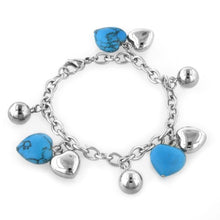 Load image into Gallery viewer, Turquoise Heart Charm Bracelet in Stainless Steel
