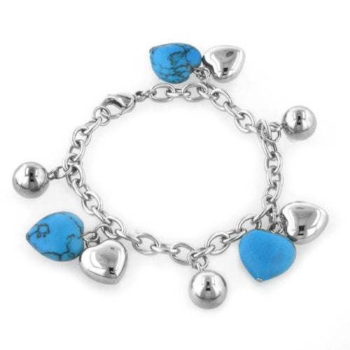 Turquoise Heart Charm Bracelet in Stainless Steel