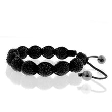 Load image into Gallery viewer, Black Crystal & Stainless Steel Shamballa Bracelet