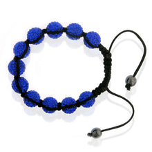 Load image into Gallery viewer, Blue Crystal & Stainless Steel Shamballa Bracelet