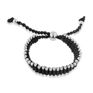 Stainless Steel & Black Cord Adjustable Friendship Bracelet