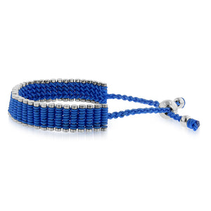 Stainless Steel & Blue Cord Adjustable Friendship Bracelet