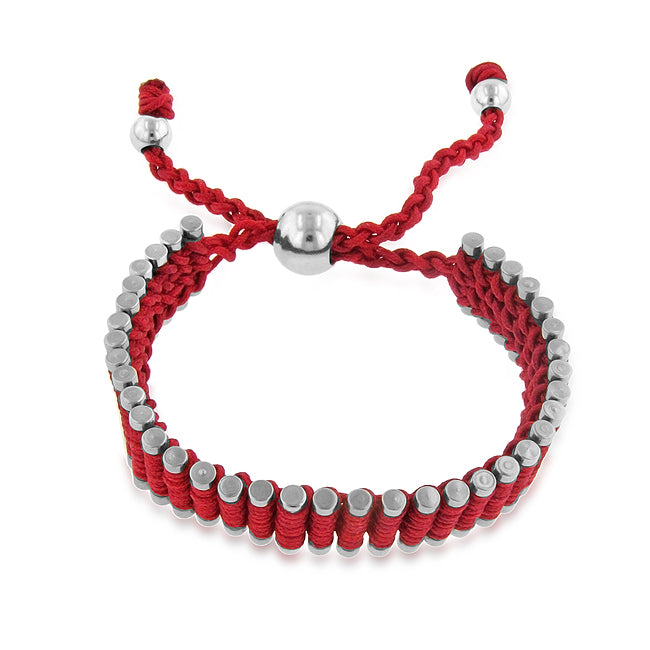 Stainless Steel & Red Cord Adjustable Friendship Bracelet - 7