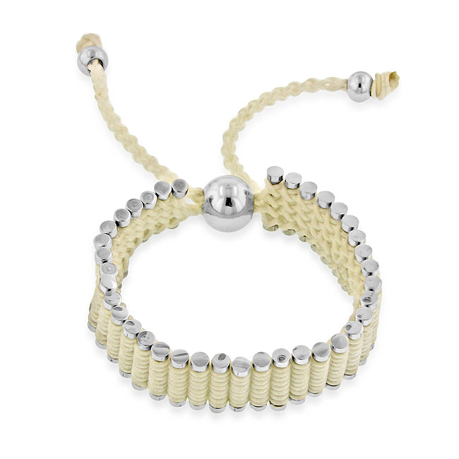 Stainless Steel & Ivory Cord Adjustable Friendship Bracelet