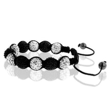 Load image into Gallery viewer, Black & White Crystal Stainless Steel Shamballa Bracelet - 7.5""